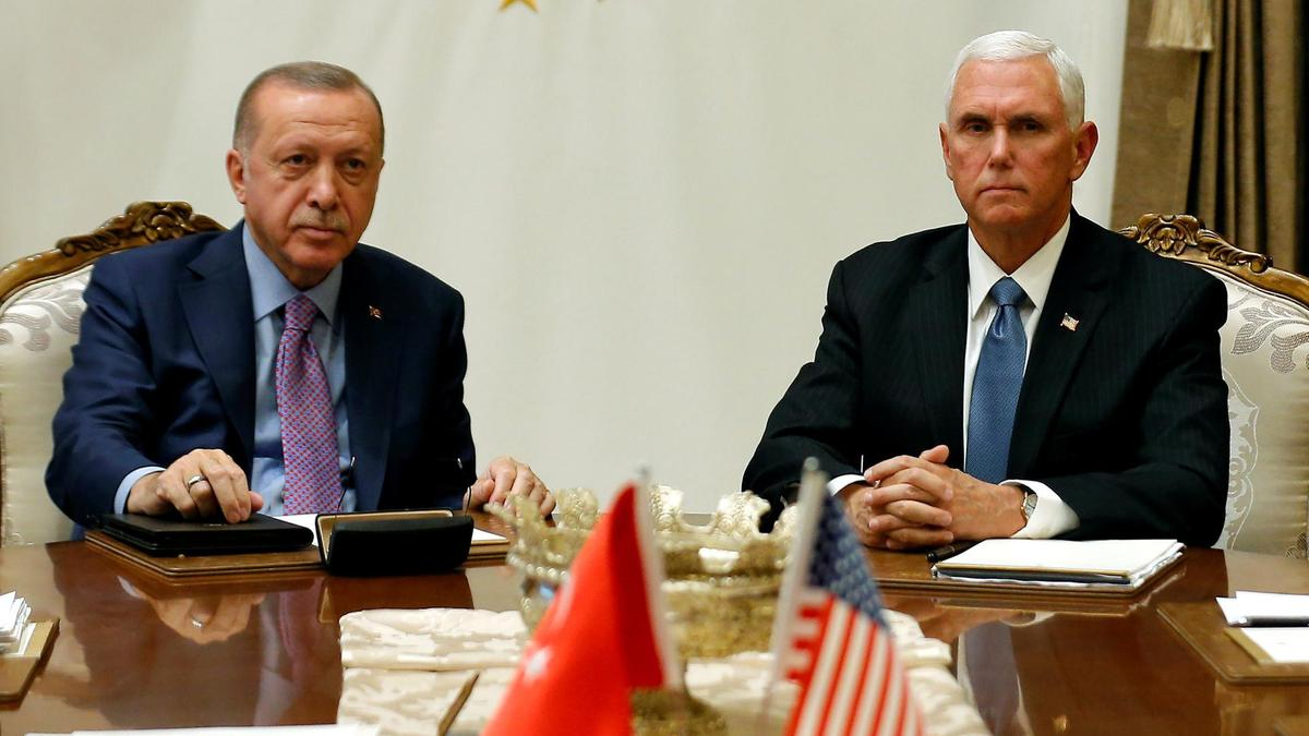 US Vice President Mike Pence meets with Turkish President Recep Tayyip Erdogan at the Presidential Palace in Ankara, Turkey. Reuters