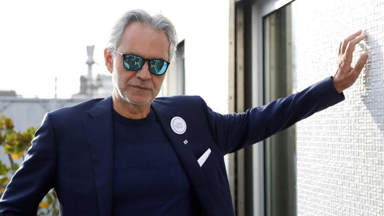 "Italian opera singer Andrea Bocelli poses after a news conference about his work with UNESCO program ""Voices of the World"" in Paris, France, November 13, 2019. (Reuters)"