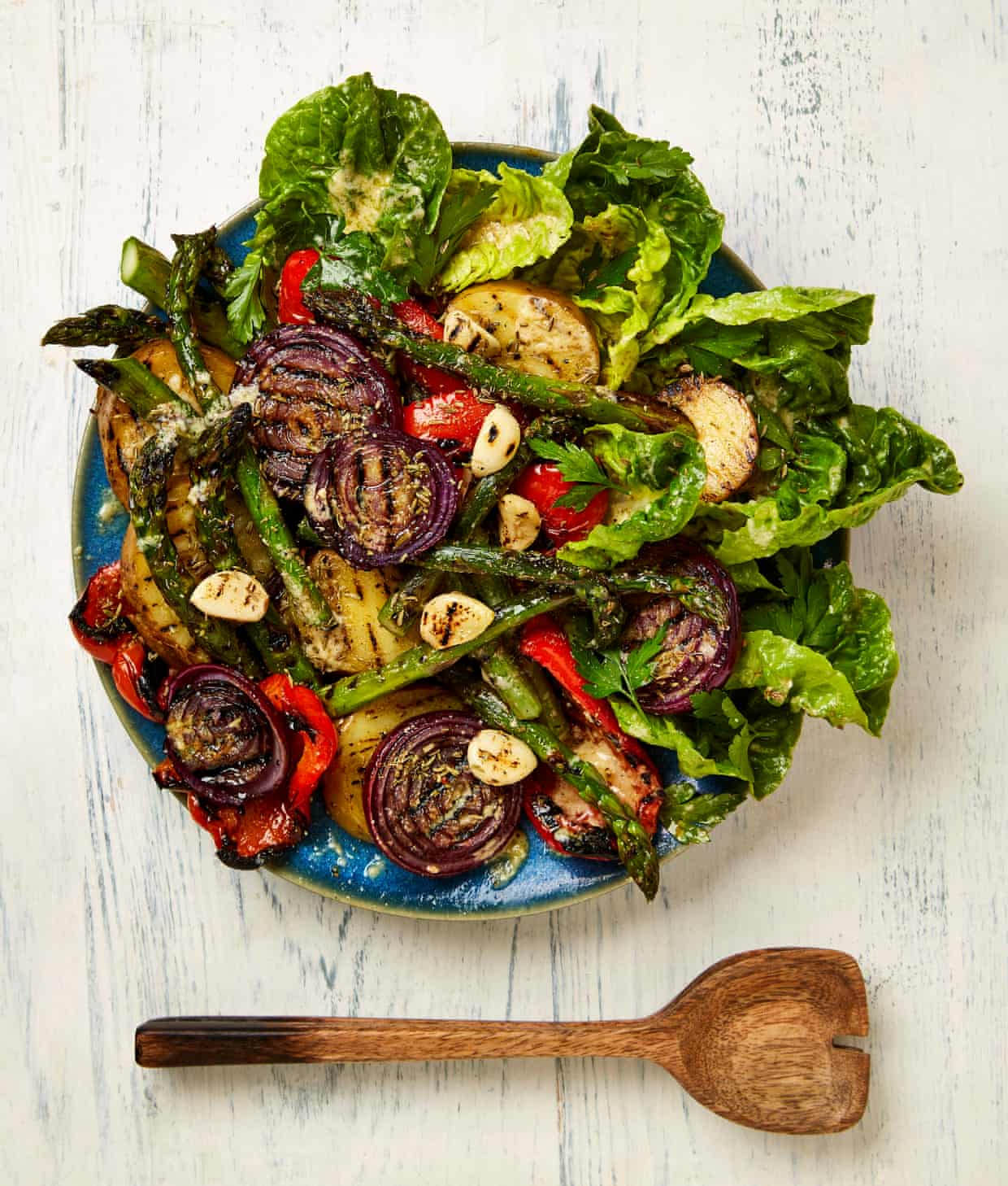 Yotam Ottolenghi's grilled vegetables with mustard and parmesan dressing.