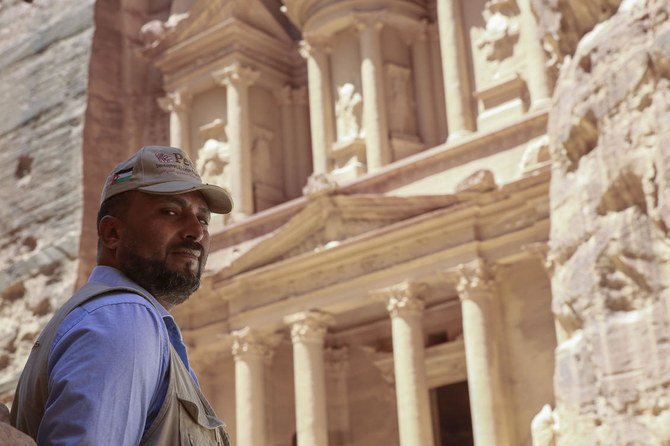 Nayef Hilalat, 42, guards Jordan's ancient city of Petra, which remains empty of tourists amid the COVID-19 pandemic crisis.