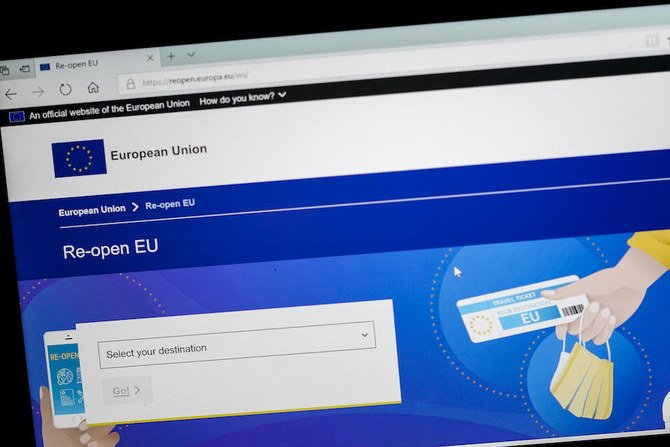 A computer screen with the main web page of the official European Union website