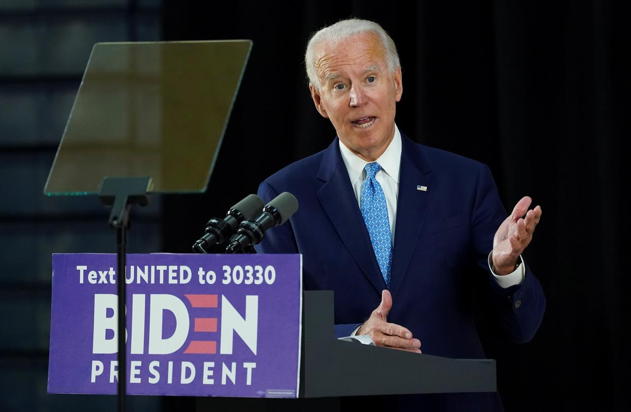 Democratic U.S. presidential candidate and former Vice President Joe Biden answers questions during a campaign event in Wilmington, Delaware, U.S., June 30, 2020. REUTERS/Kevin Lamarque