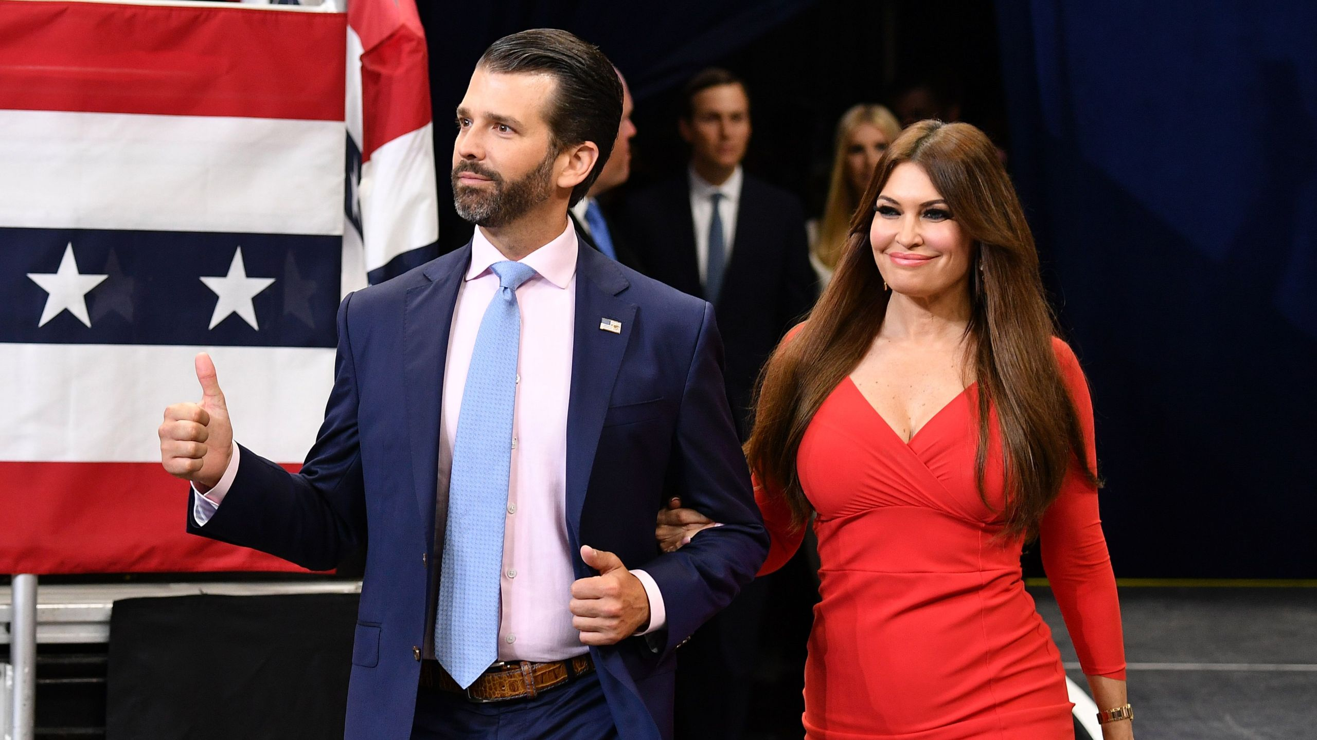 Kimberly Guilfoyle with Donald Trump Jr. She has tested positive for coronavirus.