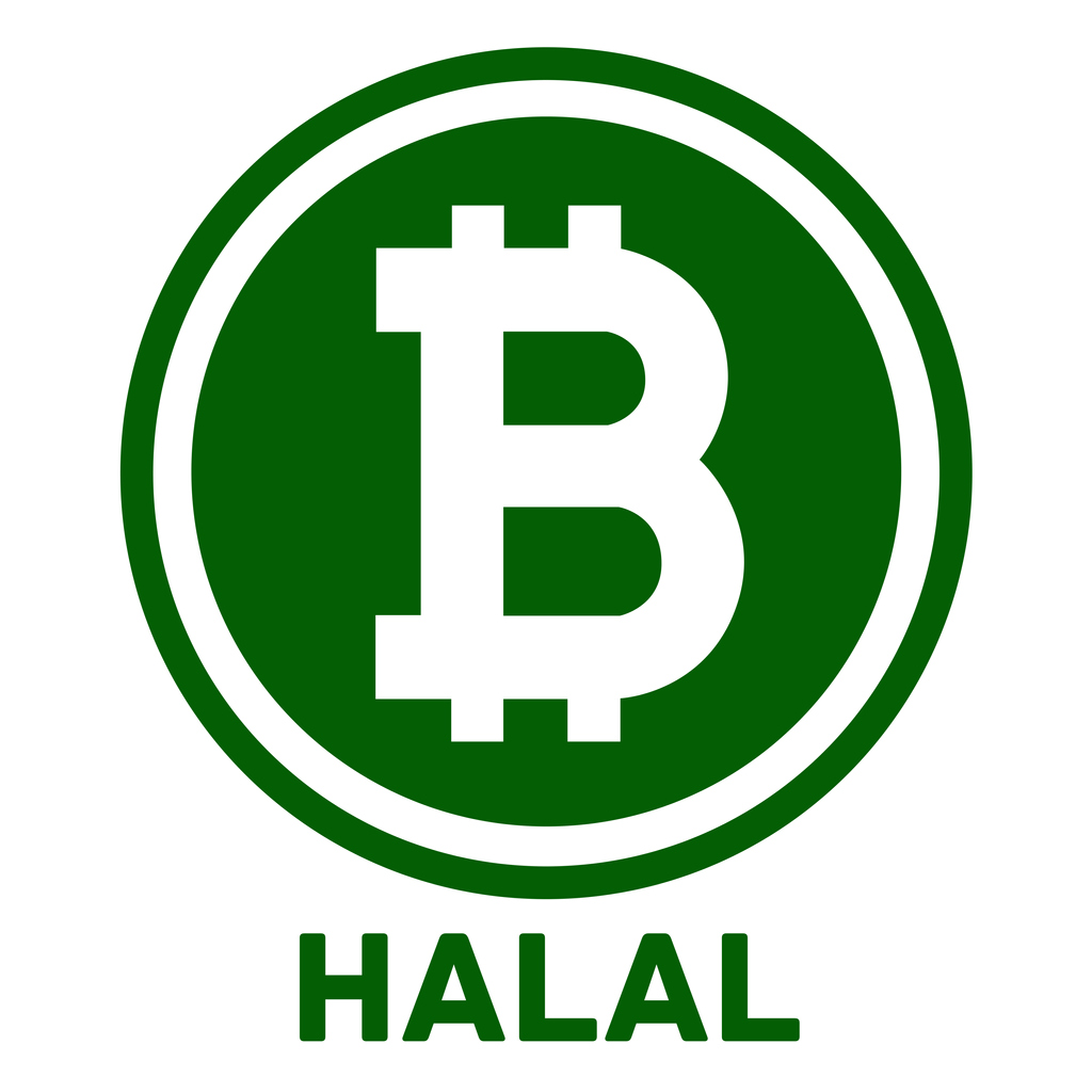 Halal Bitcoin symbol in the circle flat design vector illustration
