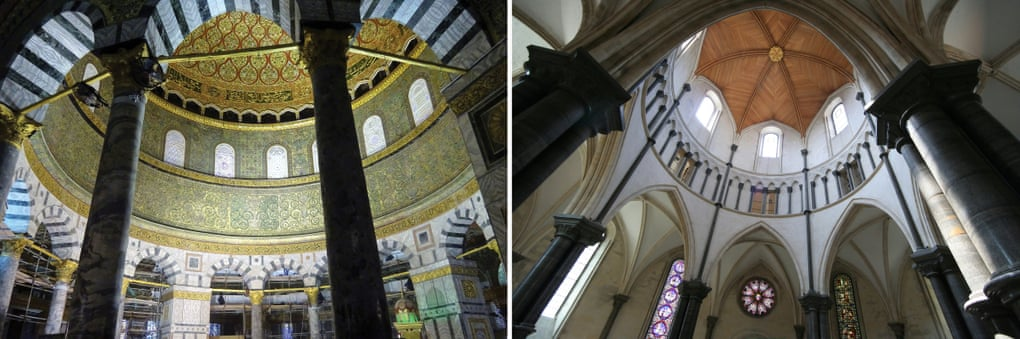 Looks familiar? … from left, the interior of Jerusalem's Dome of the Rock, and Temple Church in London. Composite