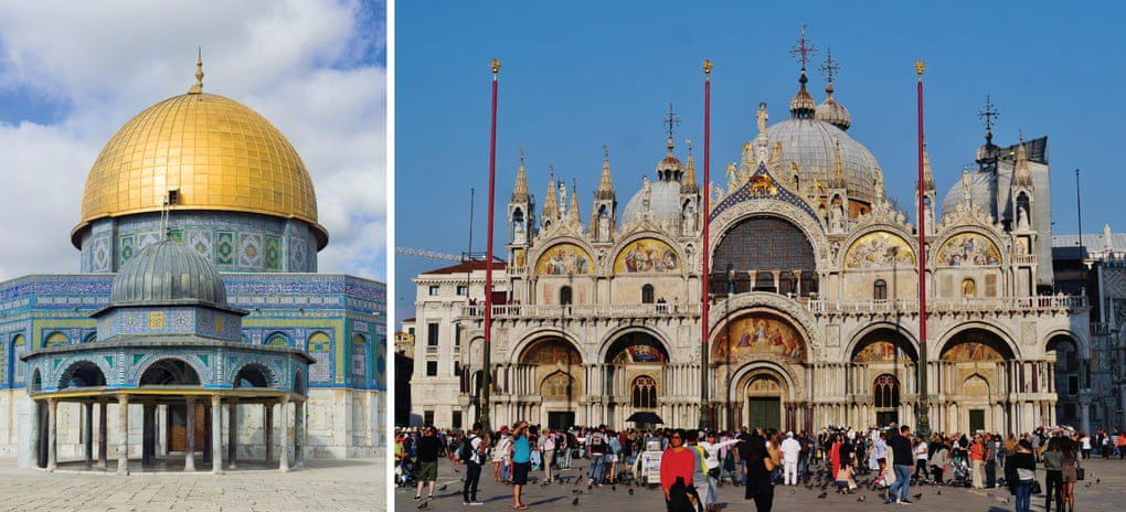 More Arab than European … Jerusalem's Dome of the Rock, left, and St Mark's basilica in Venice