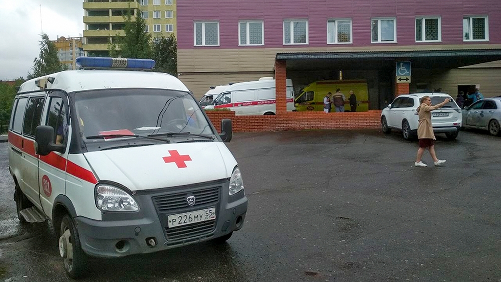 Navalny is in the intensive care unit for toxicology patients in Emergency Hospital No 1 in Omsk [Evgeniy Sofiychuk/AP]